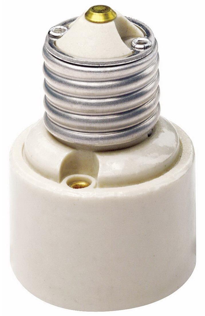 Leviton 001-02005-000 1-Piece Socket Adapter, 660 W, 250 V, Incandescent, Medium to Medium Base, White