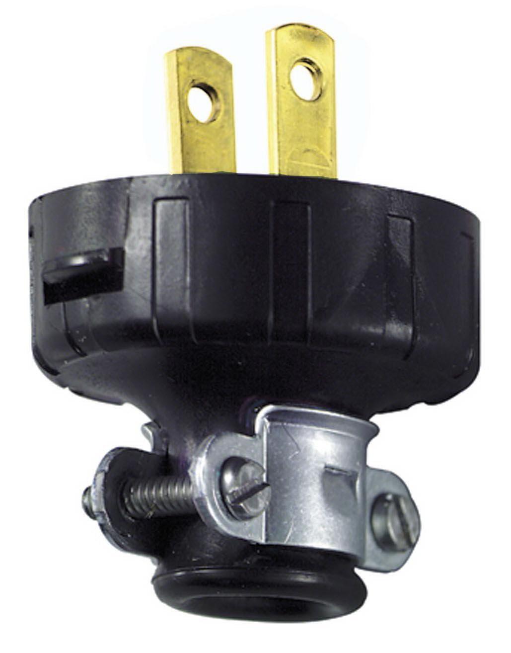 Leviton 000-48646-000 Non-Polarized Round Electrical Plug With Cord Clamp, 125 V, 15 A, 2 P, 2 W, Black