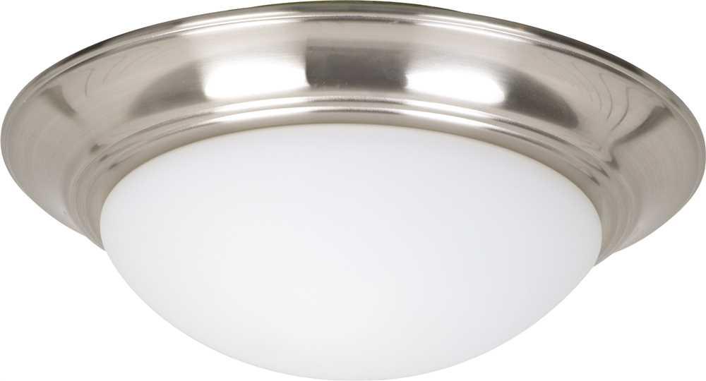 LITEX ELEGANCE FLUSH MOUNT BOWL LIGHT KIT, CASED WHITE GLASS, 11 IN., STAINLESS STEEL, USES (2) 13-WATTS MEDIUM BASE CFL*