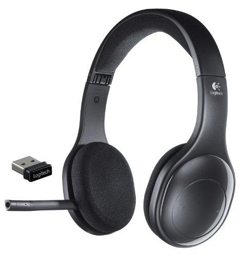H800 Binaural Over-the-Head Wireless Bluetooth Headset, 4 ft Range, Black