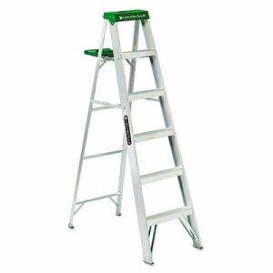#428 Folding Aluminum Step Ladder, 6 ft, 5-Step, Green