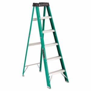 #592 Folding Fiberglass Step Ladder, 6 ft, 5-Step, Green/Black