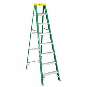 #592 Folding Fiberglass Step Ladder, 8 ft, 7-Step, Green/Black