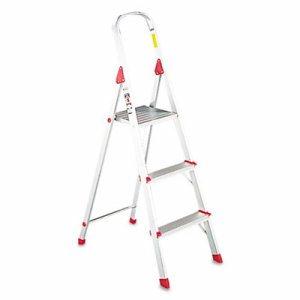 #566 Folding Aluminum Euro Platform Ladder, 3-Step, Red