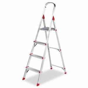 #566 Folding Aluminum Euro Platform Ladder, 4-Step, Red