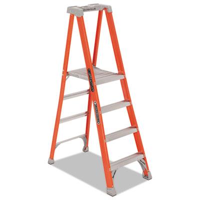 Fiberglass Pro Platform Step Ladder, 25w x 9 1/2d x 81 1/4h, 4-Step, Orange