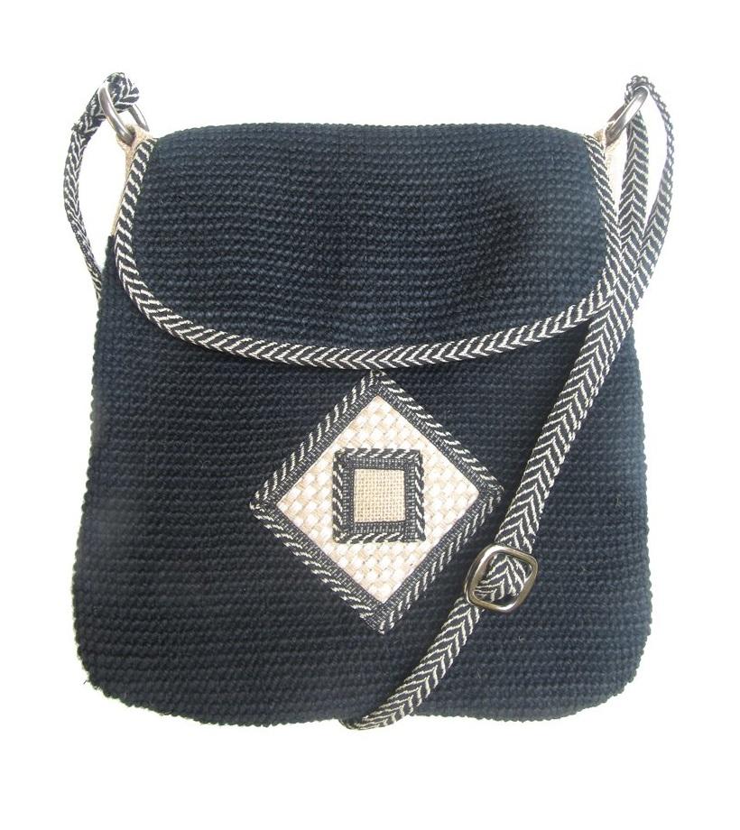 Leaf & Fiber 'Rummy' Eco-Friendly Designer Cross-Body Bag - Black