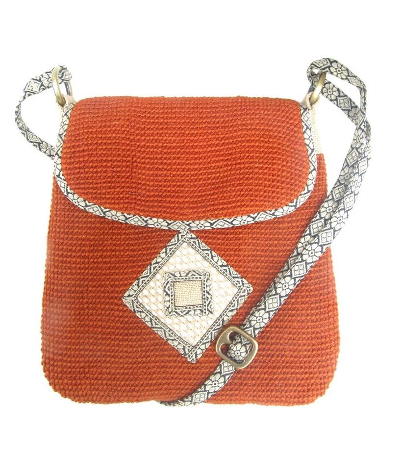 Leaf & Fiber 'Rummy' Eco-Friendly Designer Cross-Body Bag - Orange