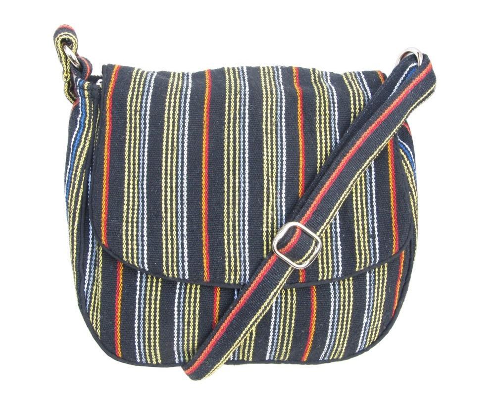 Leaf & Fiber 'Solara' Eco-Friendly Messenger Bag - Black Stripes