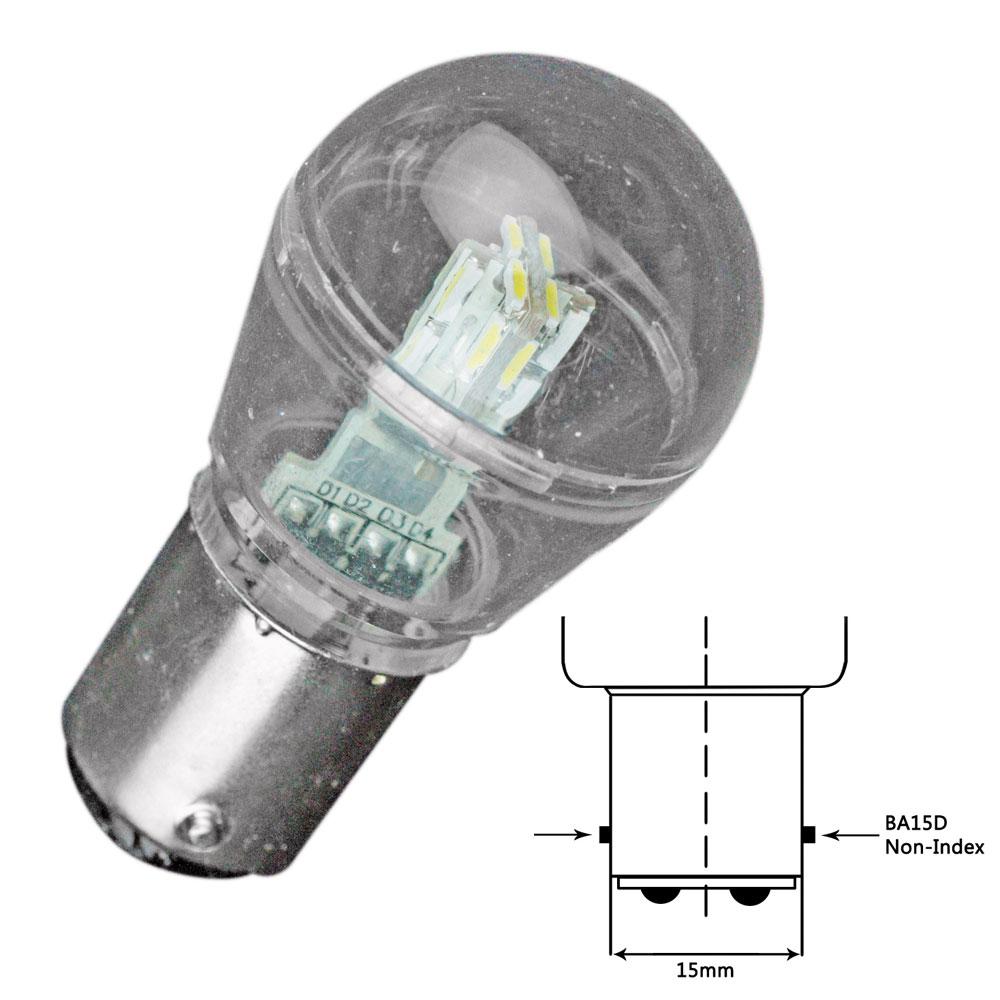 Lunasea Bayonet LED Bulb BA15D - 10-30VDC/1W/105 Lumens - Cool White