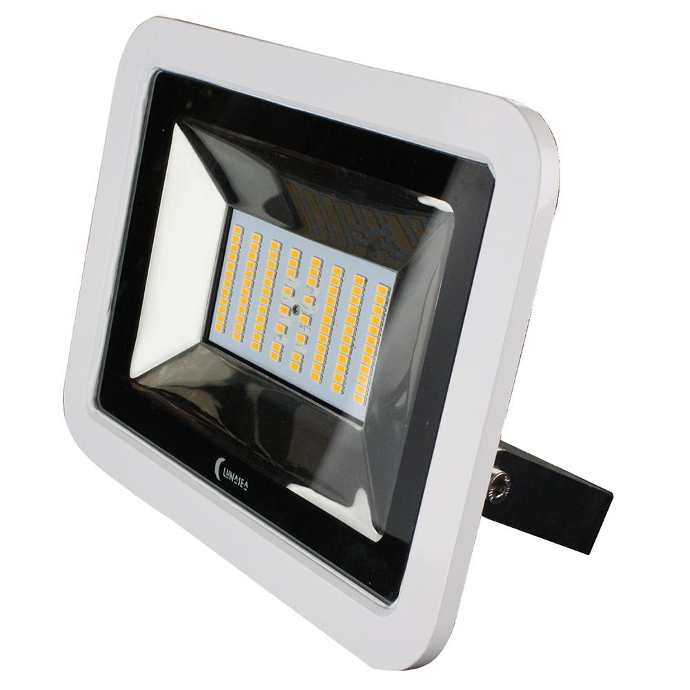 Lunasea 35W Slimline LED Floodlight, 120/240VAC Only, Cool White, 4500 Lumens, 3' Cord - White Housing