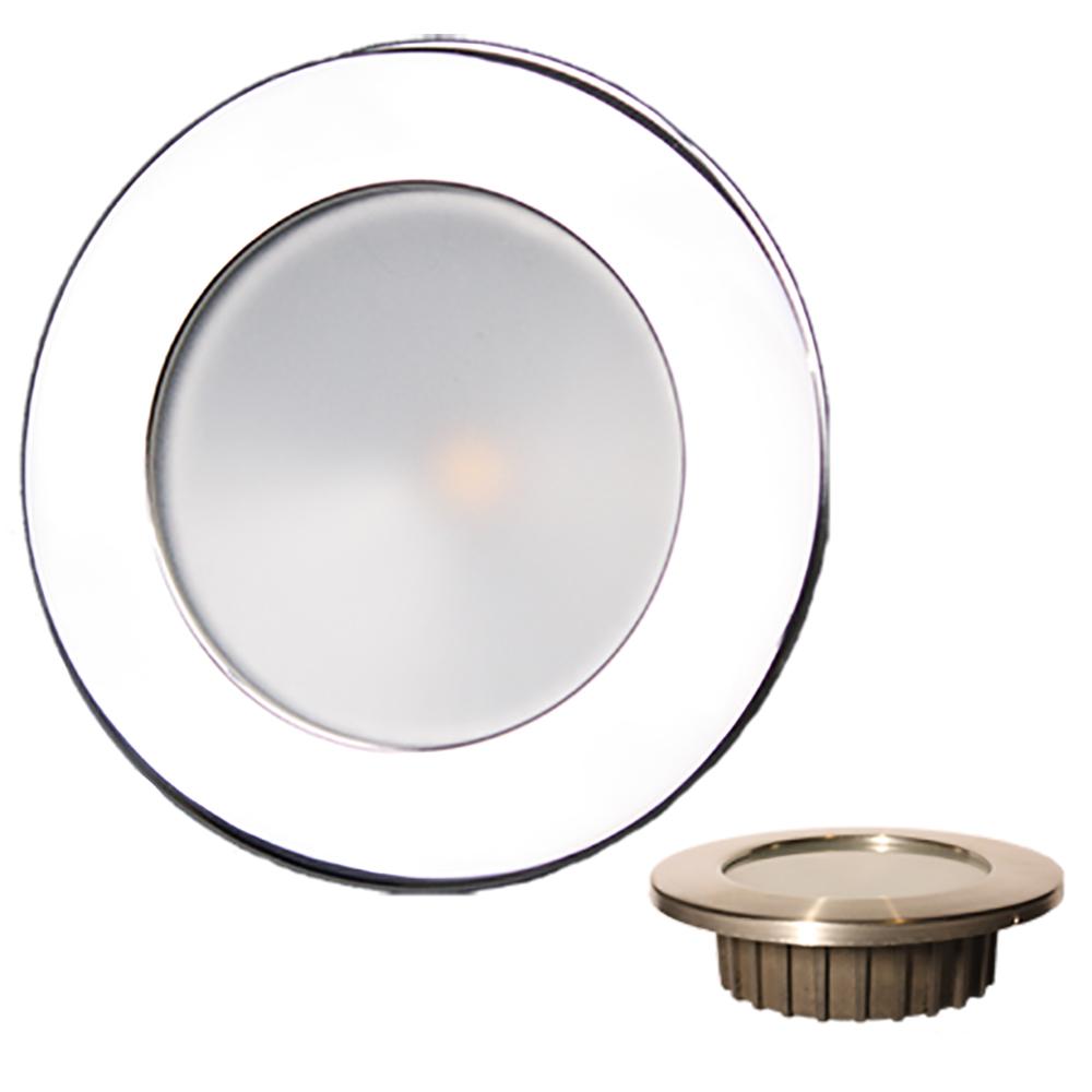"""Lunasea """"ZERO EMI"""" Recessed 3.5"""" LED Light - Warm White, Blue w/Polished Stainless Steel Bezel - 12VDC"""