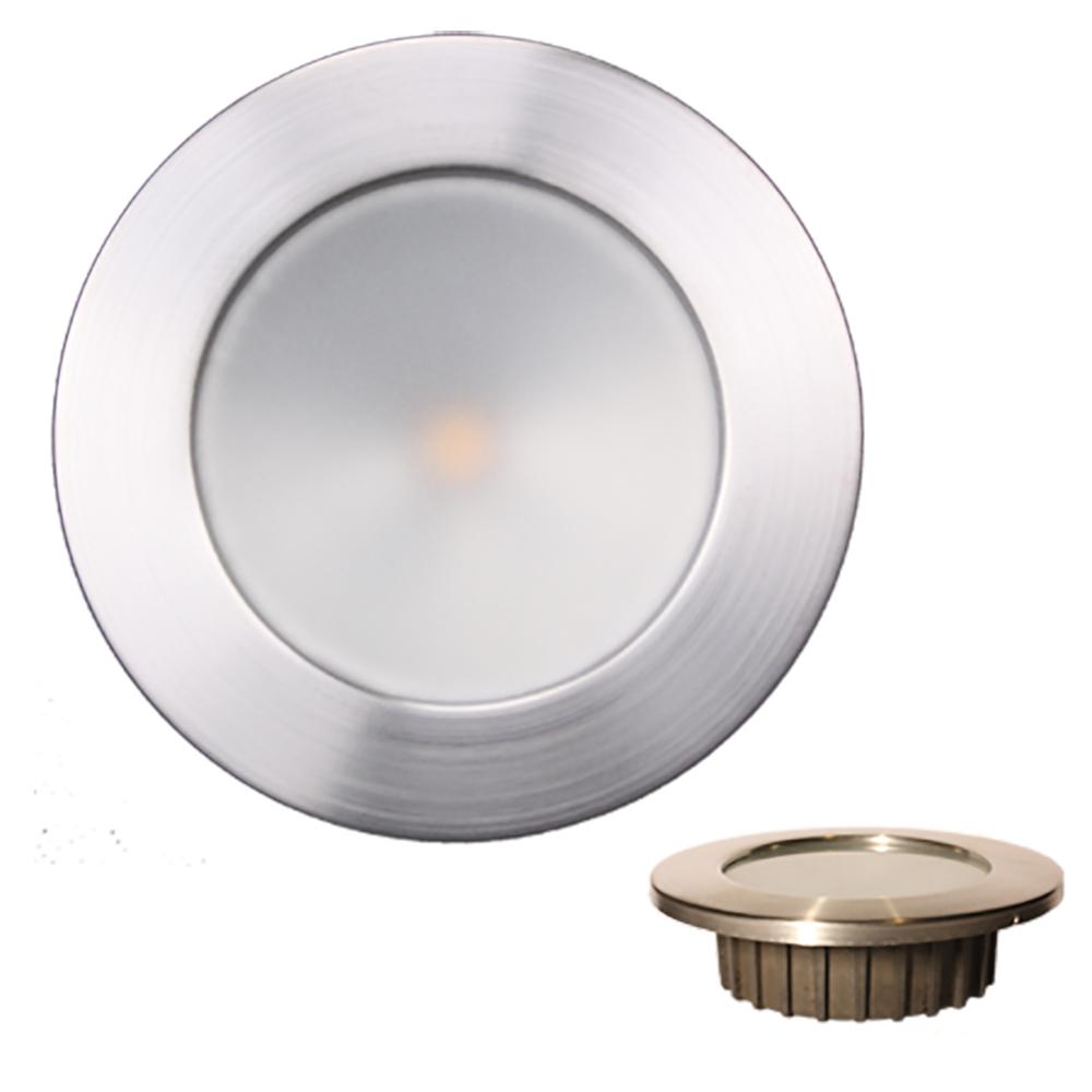 """Lunasea """"ZERO EMI"""" Recessed 3.5"""" LED Light - Warm White, Blue w/Brushed Stainless Steel Bezel - 12VDC"""