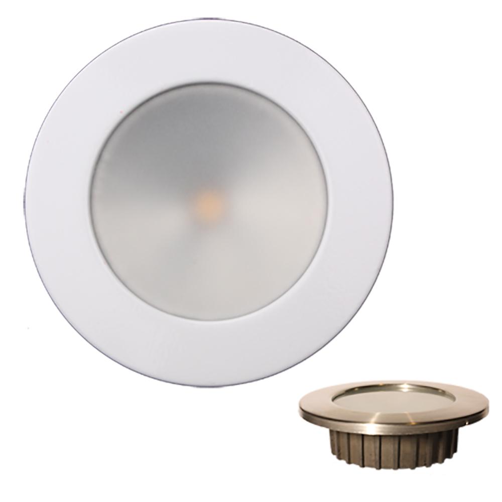 "Lunasea ""ZERO EMI"" Recessed 3.5"" LED Light - Warm White, Blue w/White Stainless Steel Bezel - 12VDC"