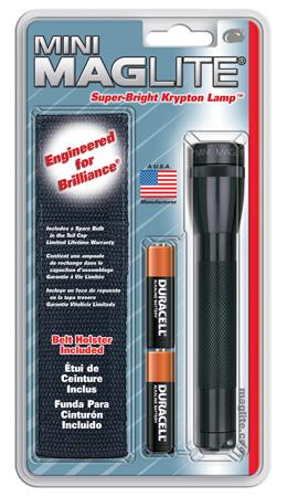 Mini Maglite M2A01H Combination Water Resistant Flashlight, 3 VDC, Incandescent, Xenon, 5.15 hr