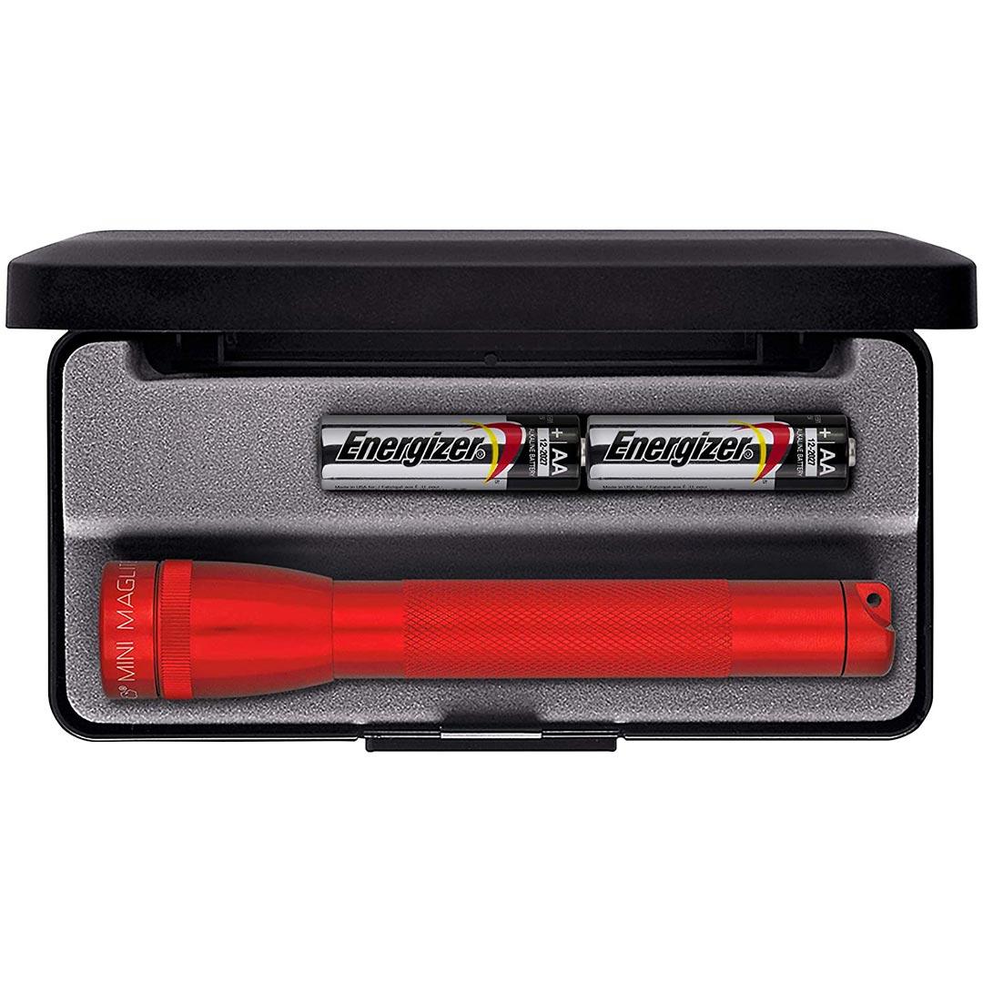 Maglite Mini Incandescent 2-Cell AA Flashlight  - Red (Gift Box)