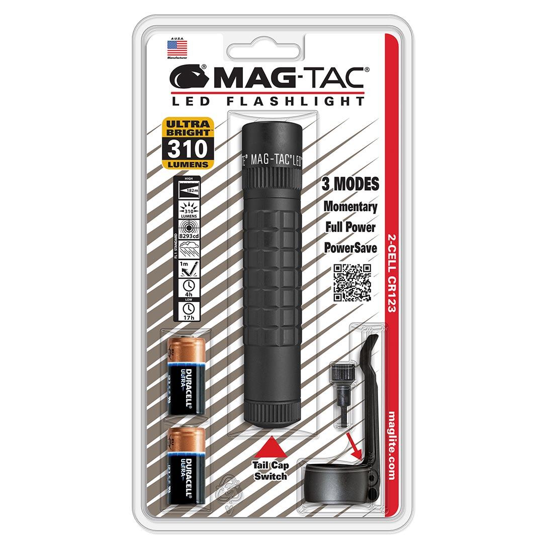 MAGLITE MAG-TAC CR123 LED Flashlight Plain Bezel - Black