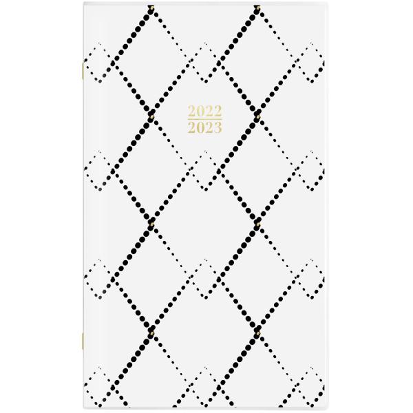 Mackenzie 2-Year Monthly Planner, 6 x 3.5, Black/White Geo, 2022-2023