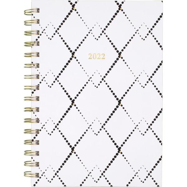 Mackenzie Weekly/Monthly Planner, 8.5 x 5.5, Black/White Geo, 2022