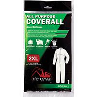 Medline Venom All-Purpose Coverall, 2XL, White, Straight/Open Ankle, Straight/Open Cuff