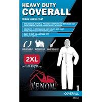 Medline Venom Heavy Duty Coverall With Hood, 2XL, Fabric, White, Elastic Ankle, Elastic Cuff