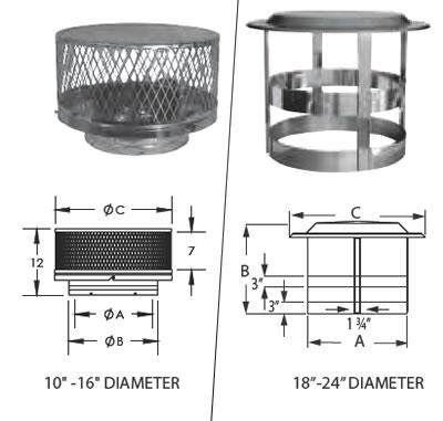 "16"" Duravent DuraTech Double-Wall Vertical Chimney Cap - 16DT-VC1"