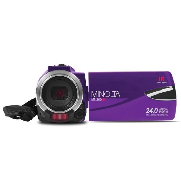 Minolta MN200NV-P MN200NV 1080p Full HD IR Night Vision Wi-Fi Camcorder (Purple)
