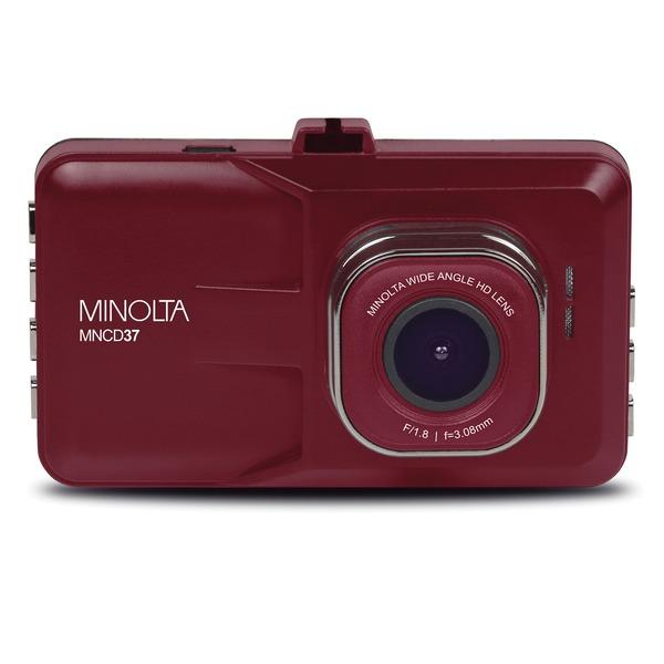Minolta MNCD37-R MNCD37 1080p Full HD Dash Camera with 3-Inch QVGA LCD Screen (Red)