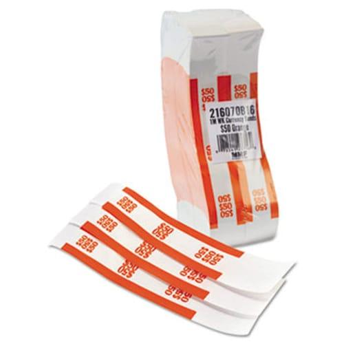 Currency Straps, Orange, $50 in Dollar Bills, 1000 Bands/Pack