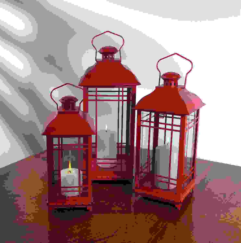 """Lantern (Set of 3) 14""""H, 17""""H, 20""""H Metal/Glass"""