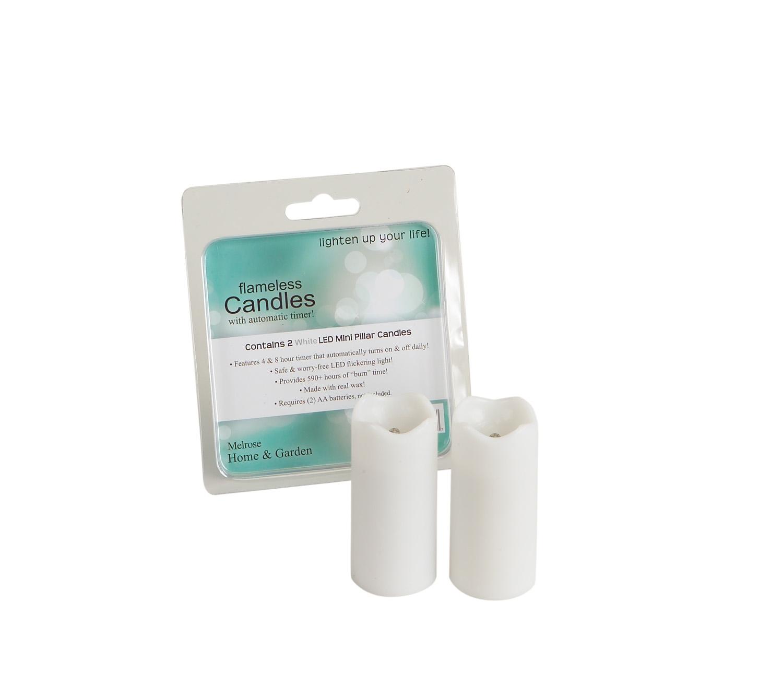 "LED Mini Pillar Candle w/Timer (Set of 12) 1.4""Dx3""H Wax/Plastic - 2 AA Batt Not Inlcd"