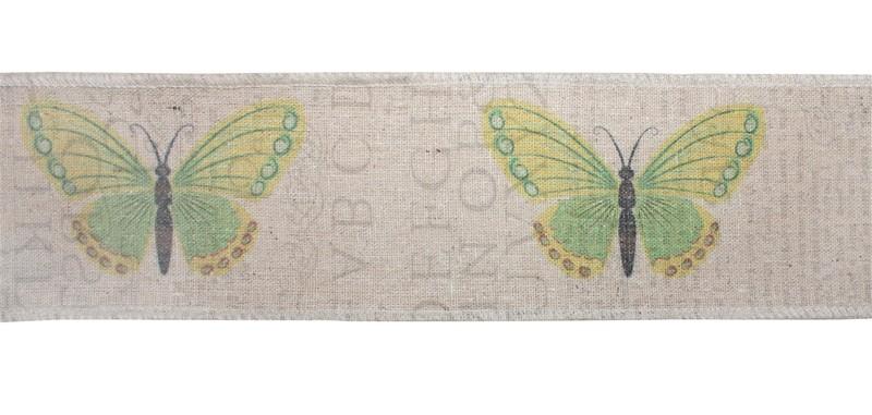 "Bird Fabric Ribbon 3"" x 3.3 Yds. (6 Rolls) Wired Polyester"
