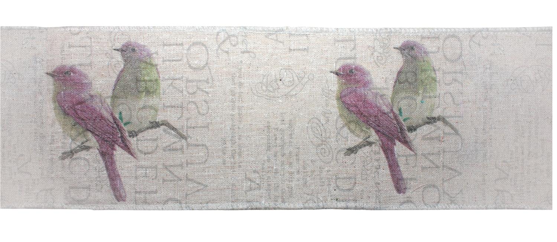 "Bird Fabric Ribbon 3"" x 3.3 Yds. (4 Rolls)Wired Polyester"