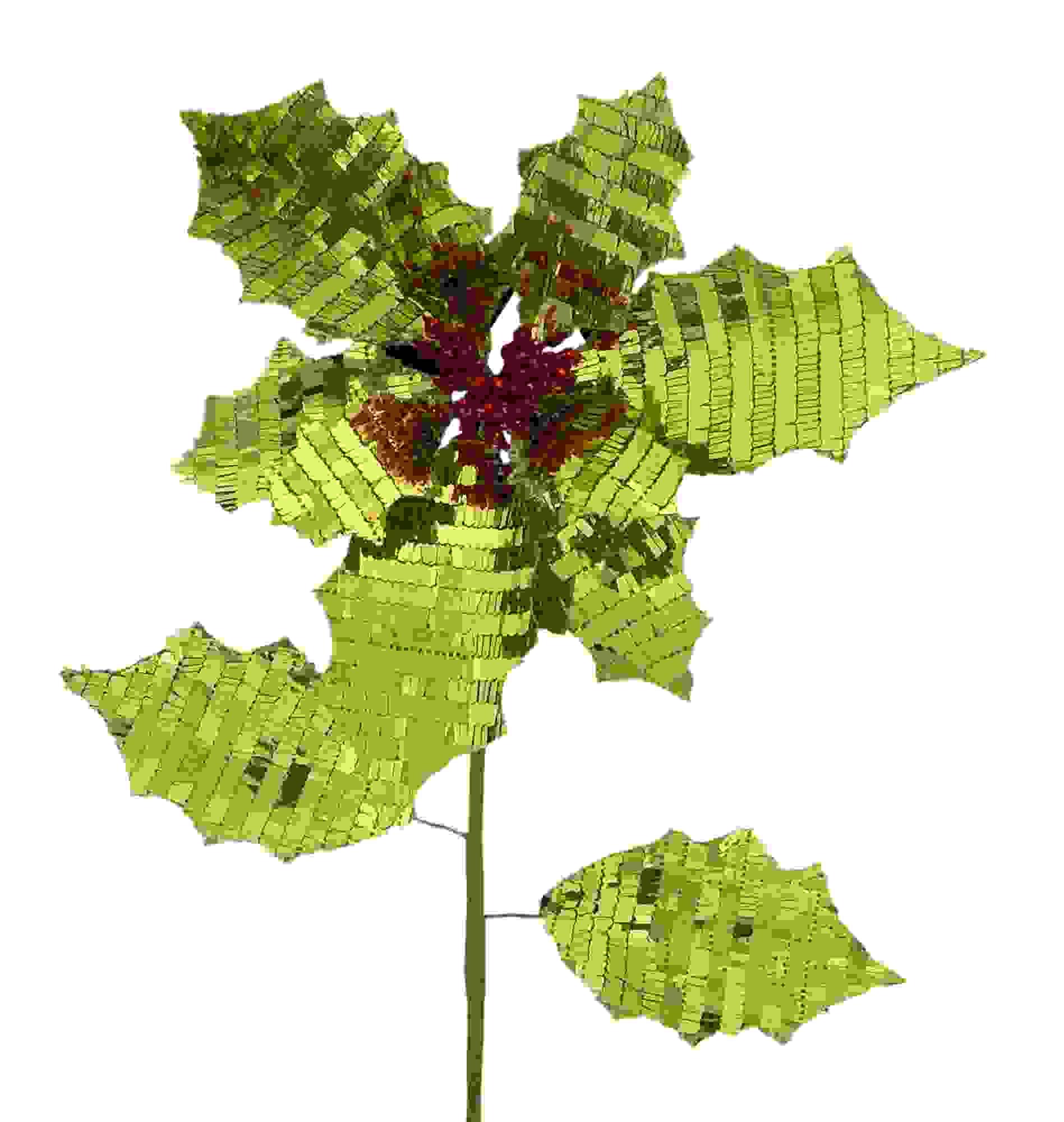 "Reversible Poinsettia Stem (Set of 12)26""H Fabric"