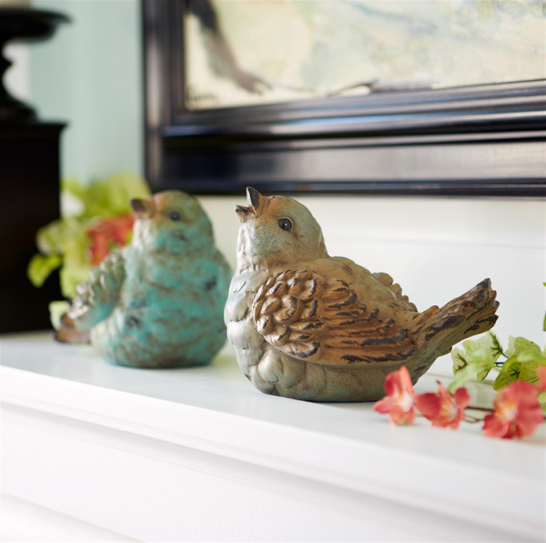"Birds (Set of 4) 5"", 5.5""H Terra Cotta"