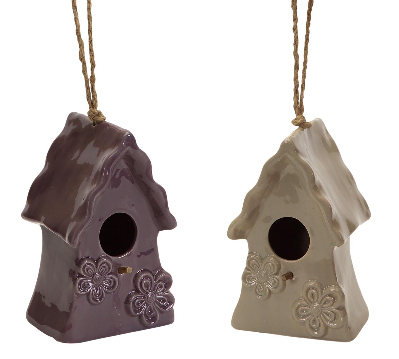 "Hanging Bird Houses (Set of 4) 12.5""H Ceramic"