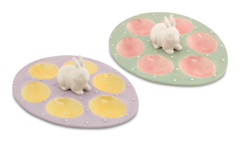 "Easter Bunny Egg Plate (Set of 2) 10""D Ceramic"