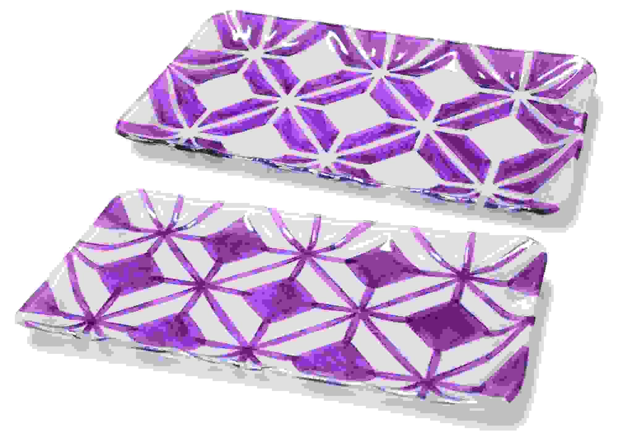 "Geometric Design Plate (Set of 2) 15""L Glass"