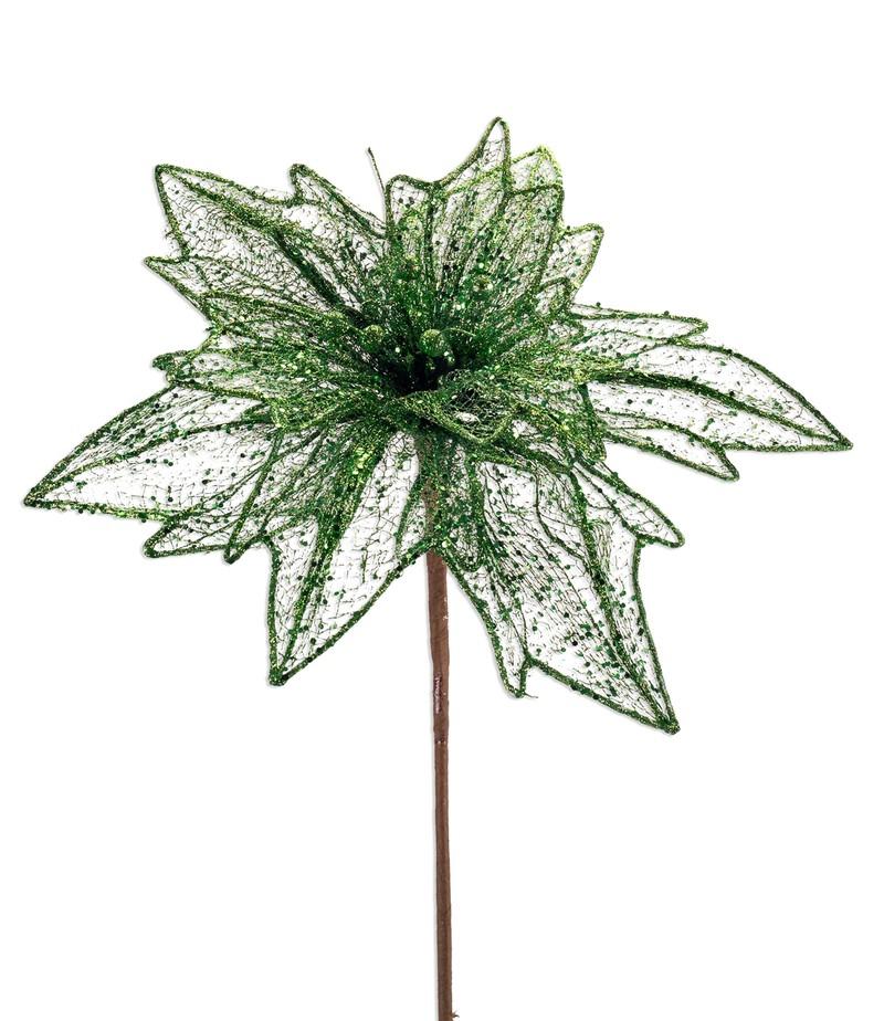 """Glittered Mesh Poinsettia Stem (Set of 4)  36""""H Polyester"""