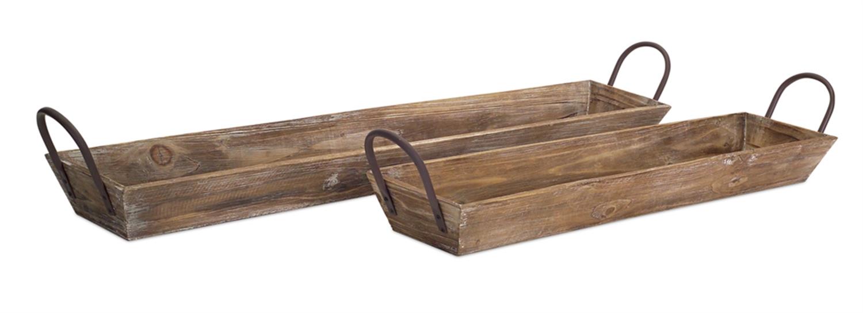 "Wooden Tray w/Handles (Set of 2) 28.75""L, 36.5""L Wood"
