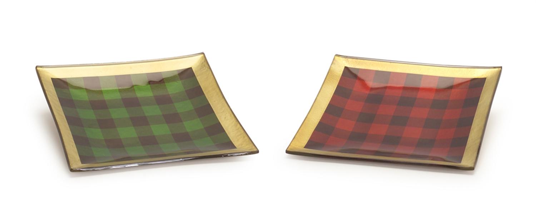 """Plaid Plate (Set of 2) 8""""SQ Glass"""