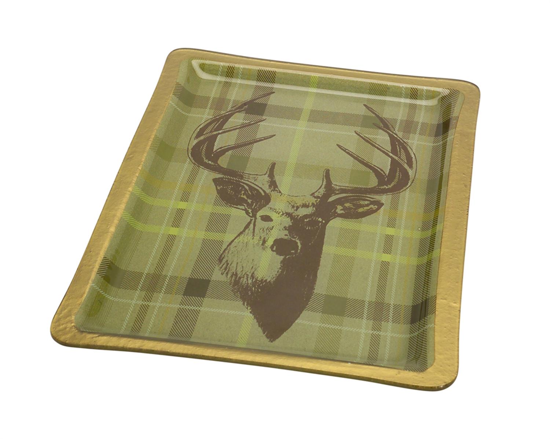"""Platter w/Deer 12""""Lx16.75""""w Glass"""