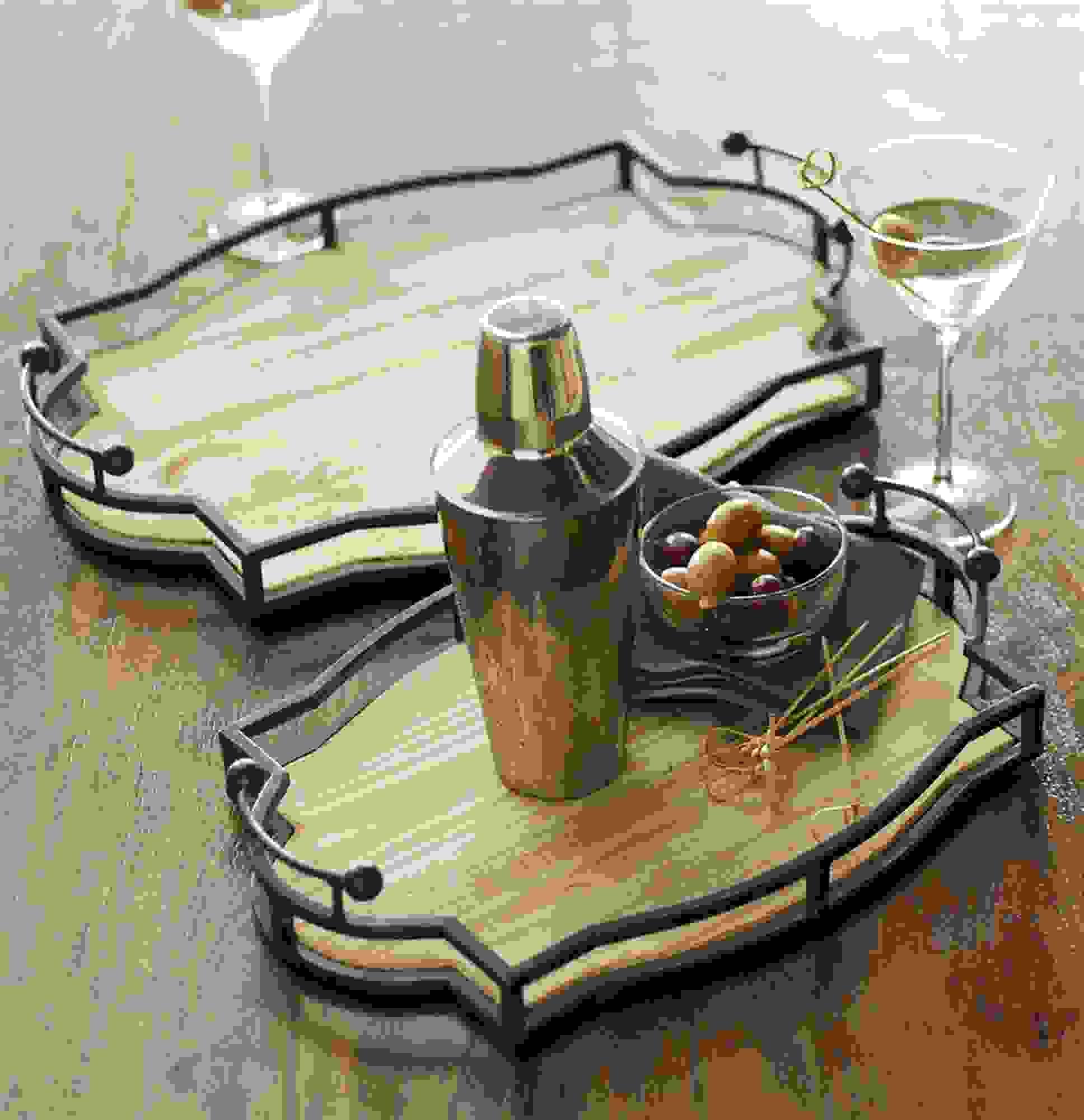 """Decorative Trays (Set of 2) 15.75""""L, 18.75""""L Metal/Wood"""