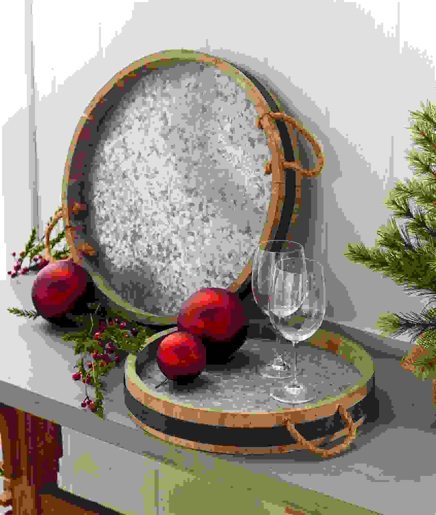 "Wine Barrel Tray (Set of 2) 15.5"", 19.75""D Wood/Metal"