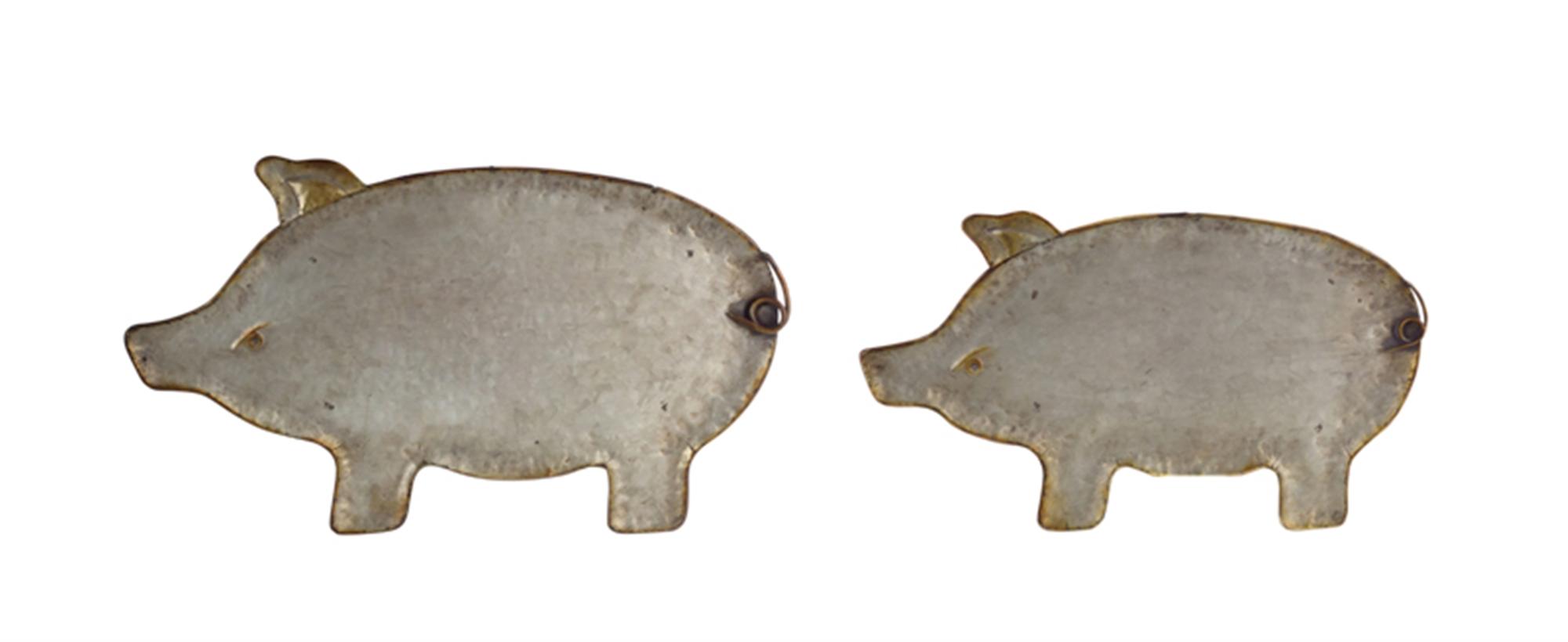 "Pig Platter (Set of 4) 17""L, 20""L Metal"