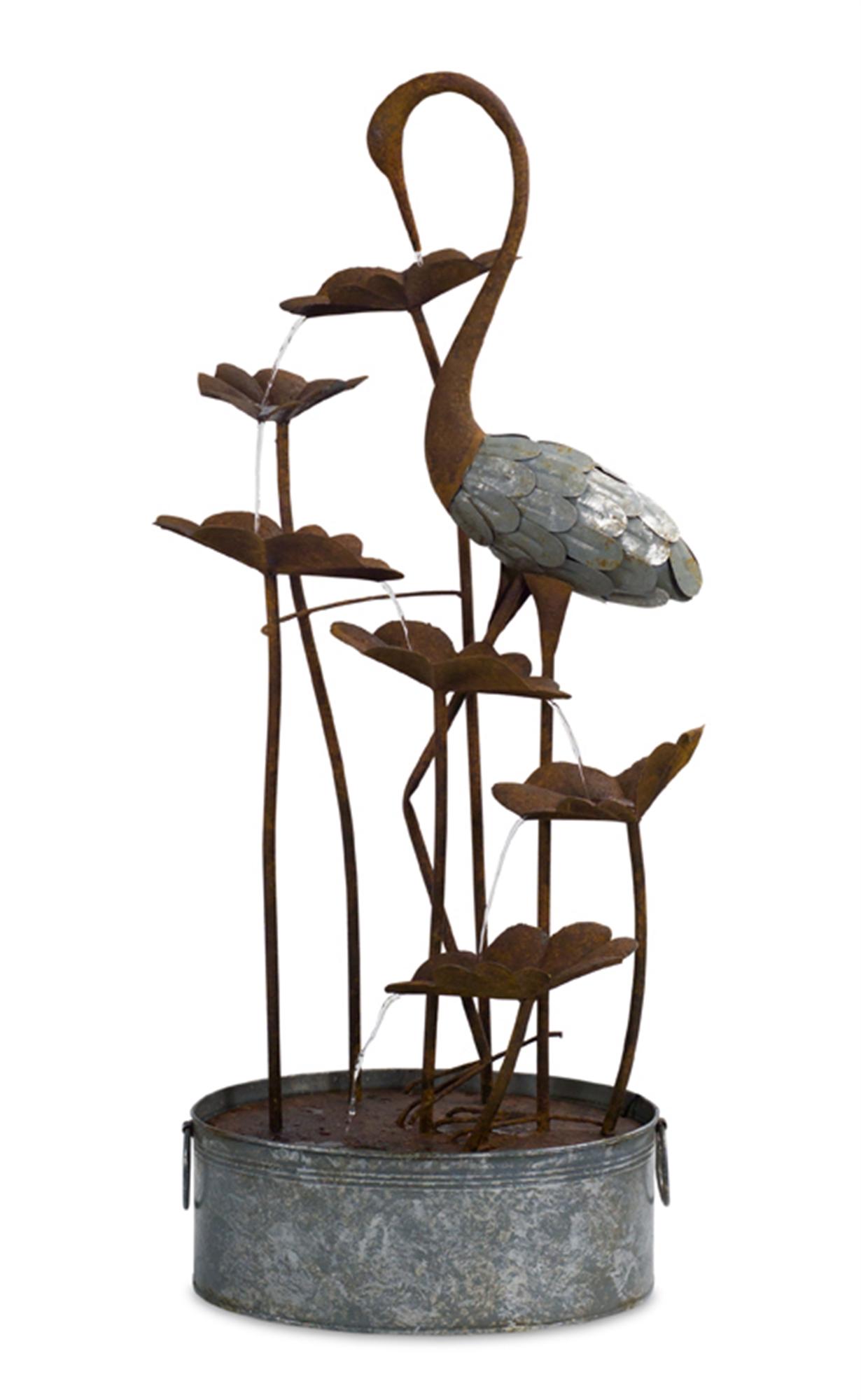 "Crane/Lily Pad Fountain 50""H Metal"