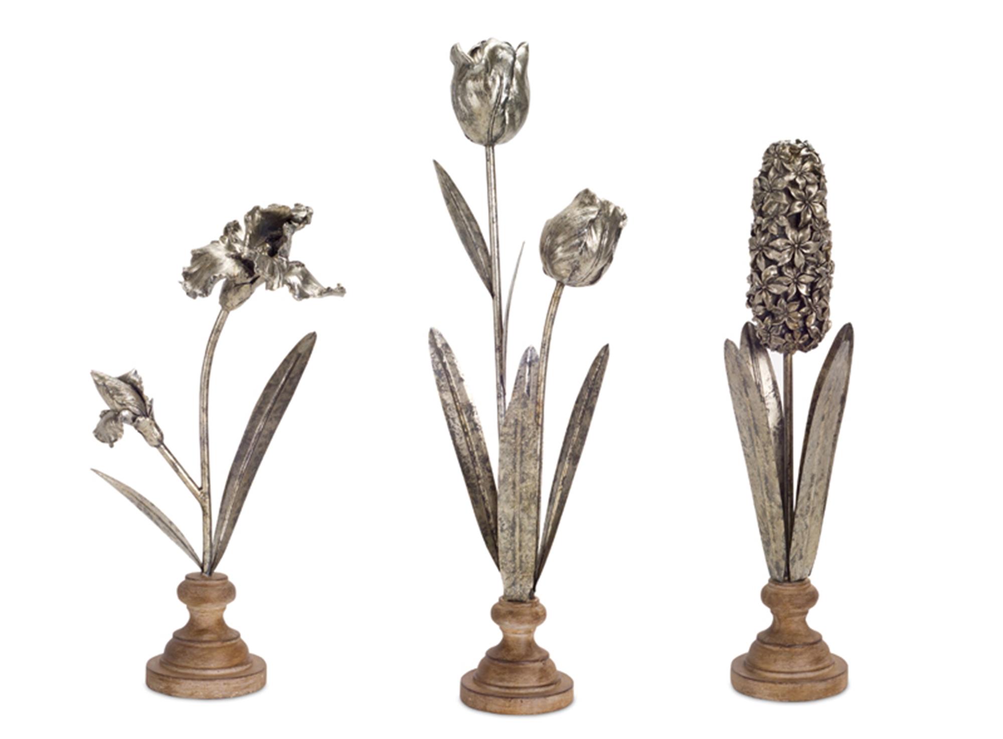 "Floral Decor (Set of 3) 15.5""H, 18""H, 22.5""H Resin/Metal"