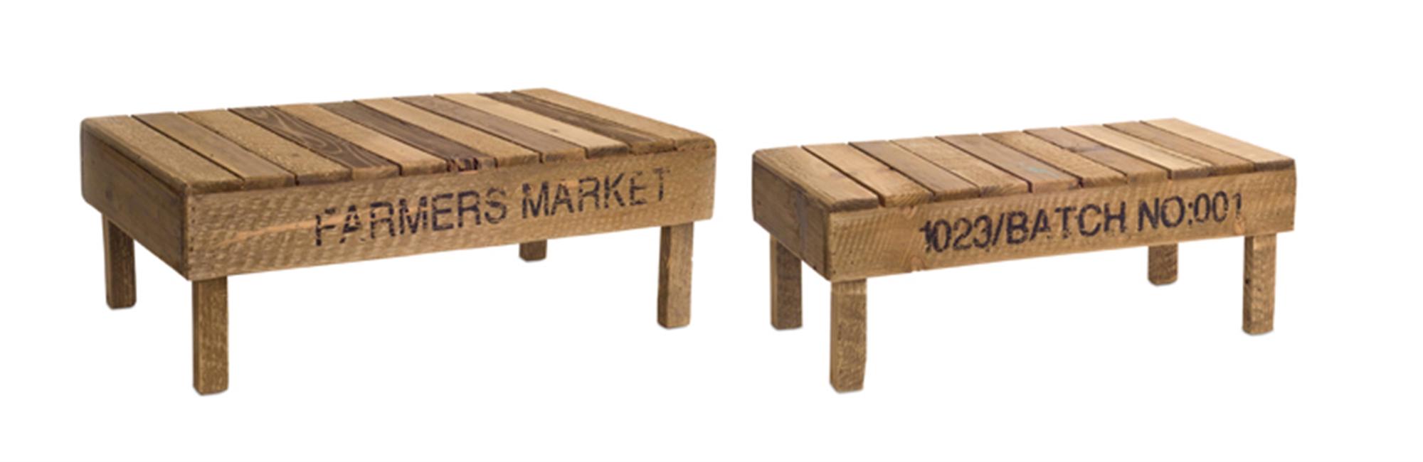 """Slotted Pedestal (Set of 2) 21""""L, 24""""L Wood"""