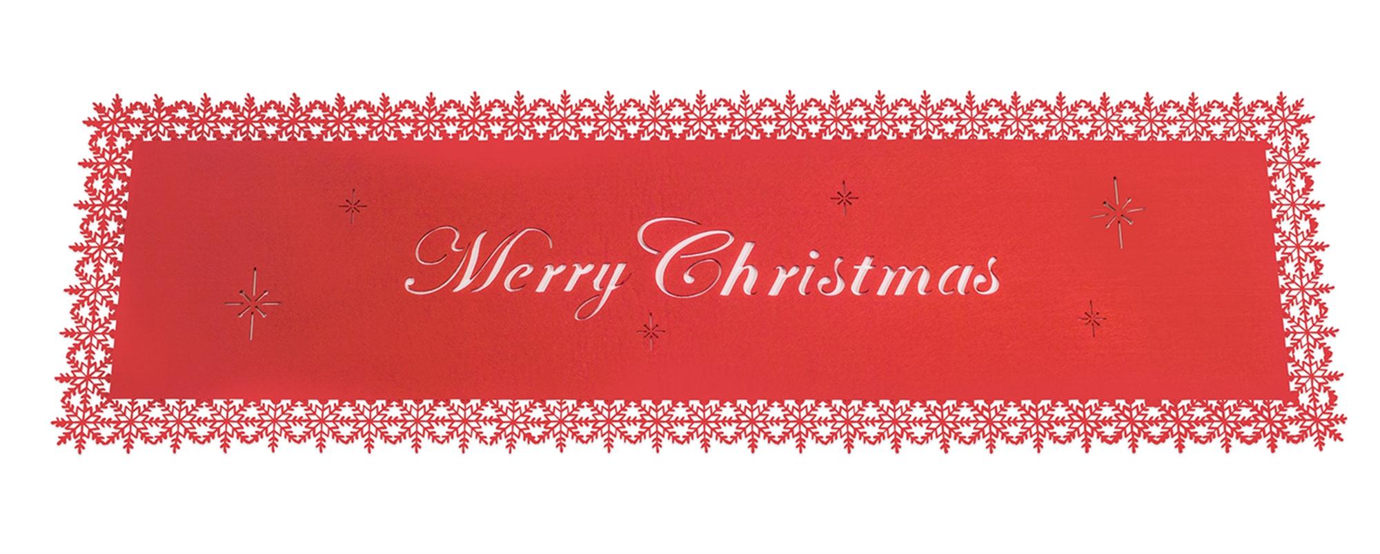 """Merry Christmas Table Runner (Set of 6) 38.5""""L Felt"""