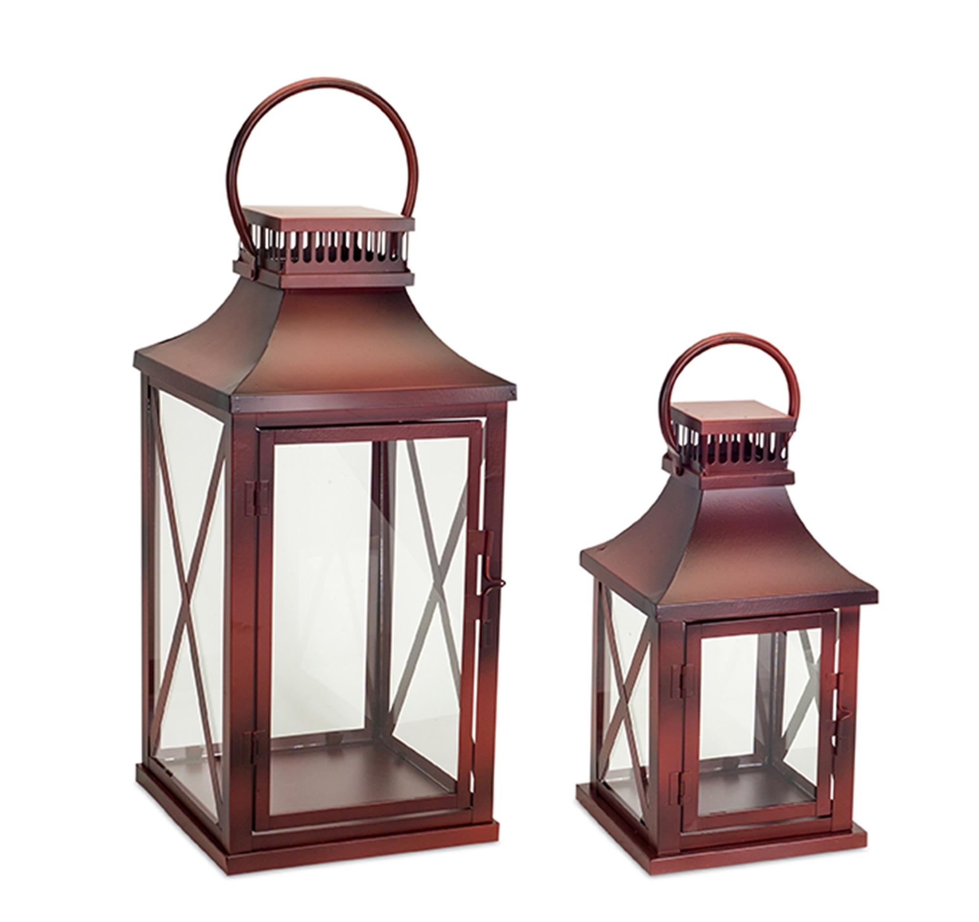 """Lantern (Set of 2) 14""""H, 20""""H Metal/Glass"""